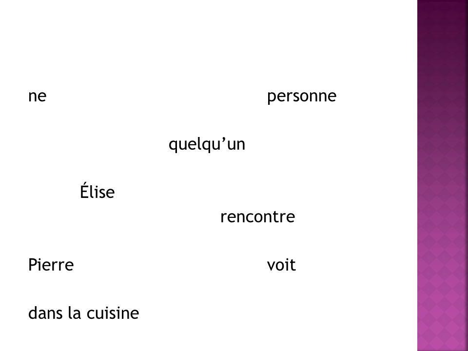 ne personne quelquun Élise rencontre Pierre voit dans la cuisine