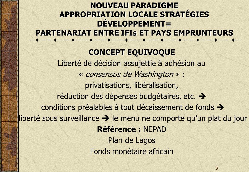 3 CONCEPT EQUIVOQUE Liberté de décision assujettie à adhésion au « consensus de Washington » : privatisations, libéralisation, réduction des dépenses budgétaires, etc.