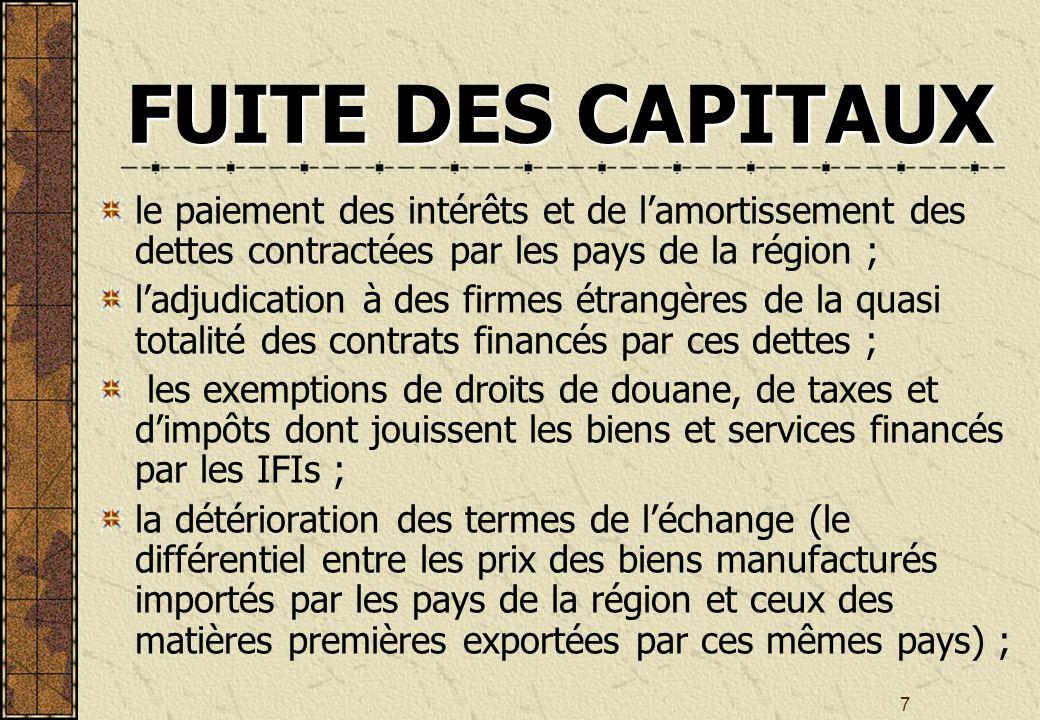 7 FUITE DES CAPITAUX le paiement des intérêts et de lamortissement des dettes contractées par les pays de la région ; ladjudication à des firmes étrangères de la quasi totalité des contrats financés par ces dettes ; les exemptions de droits de douane, de taxes et dimpôts dont jouissent les biens et services financés par les IFIs ; la détérioration des termes de léchange (le différentiel entre les prix des biens manufacturés importés par les pays de la région et ceux des matières premières exportées par ces mêmes pays) ;