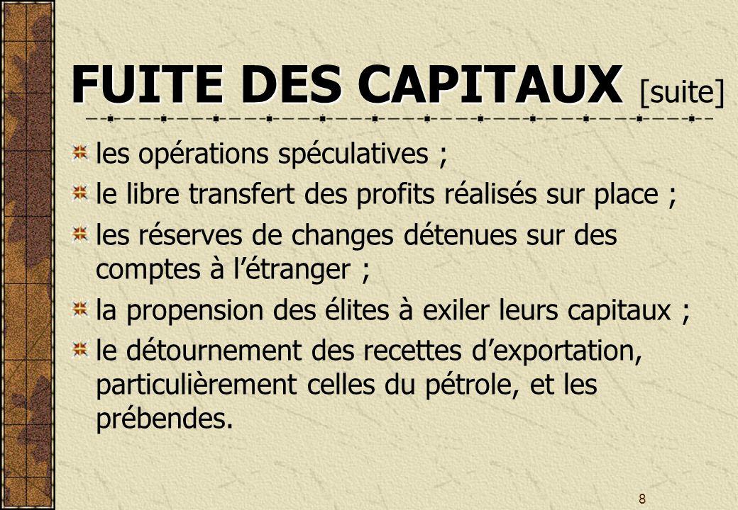 8 FUITE DES CAPITAUX FUITE DES CAPITAUX [suite] les opérations spéculatives ; le libre transfert des profits réalisés sur place ; les réserves de changes détenues sur des comptes à létranger ; la propension des élites à exiler leurs capitaux ; le détournement des recettes dexportation, particulièrement celles du pétrole, et les prébendes.