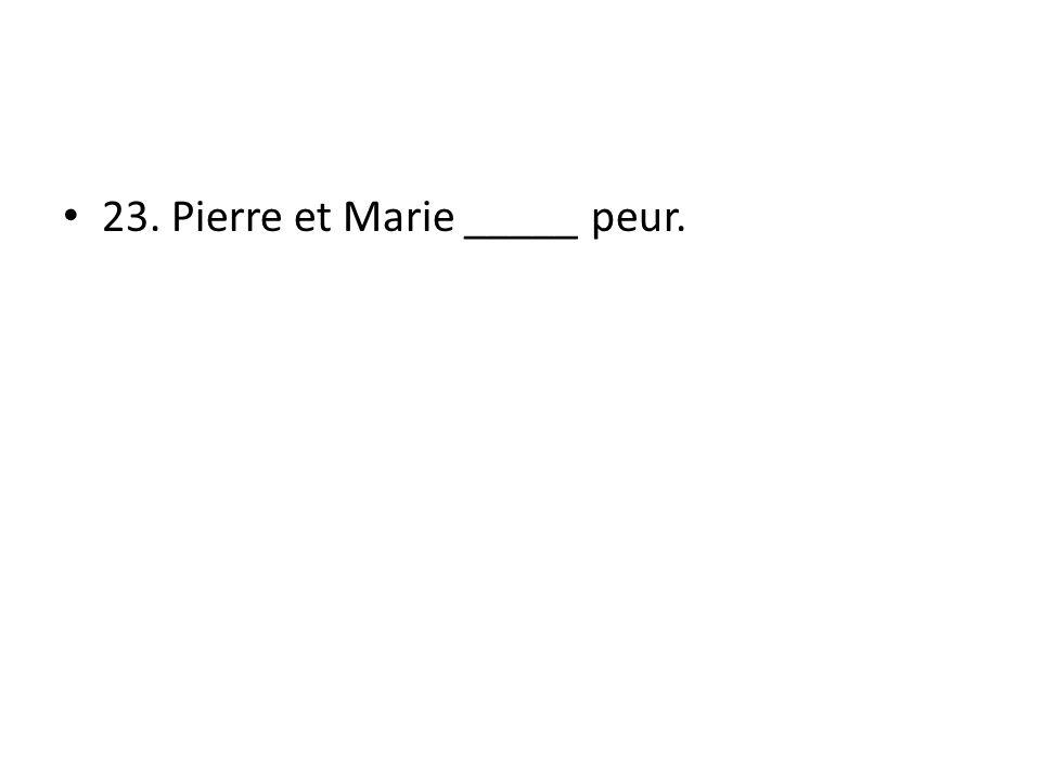 23. Pierre et Marie _____ peur.