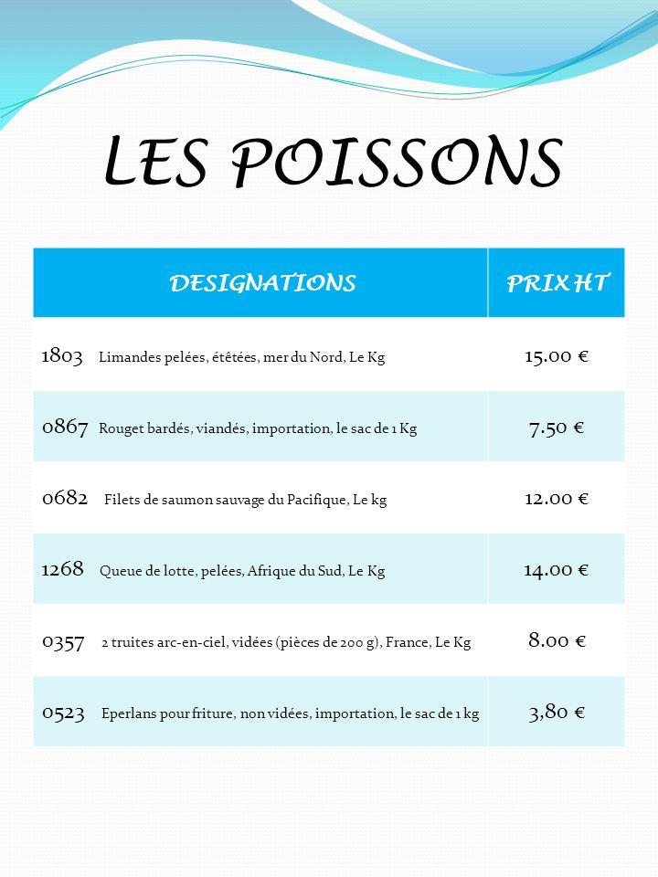 LES POISSONS DESIGNATIONSPRIX HT 1803 Limandes pelées, étêtées, mer du Nord, Le Kg 15.00 0867 Rouget bardés, viandés, importation, le sac de 1 Kg 7.50