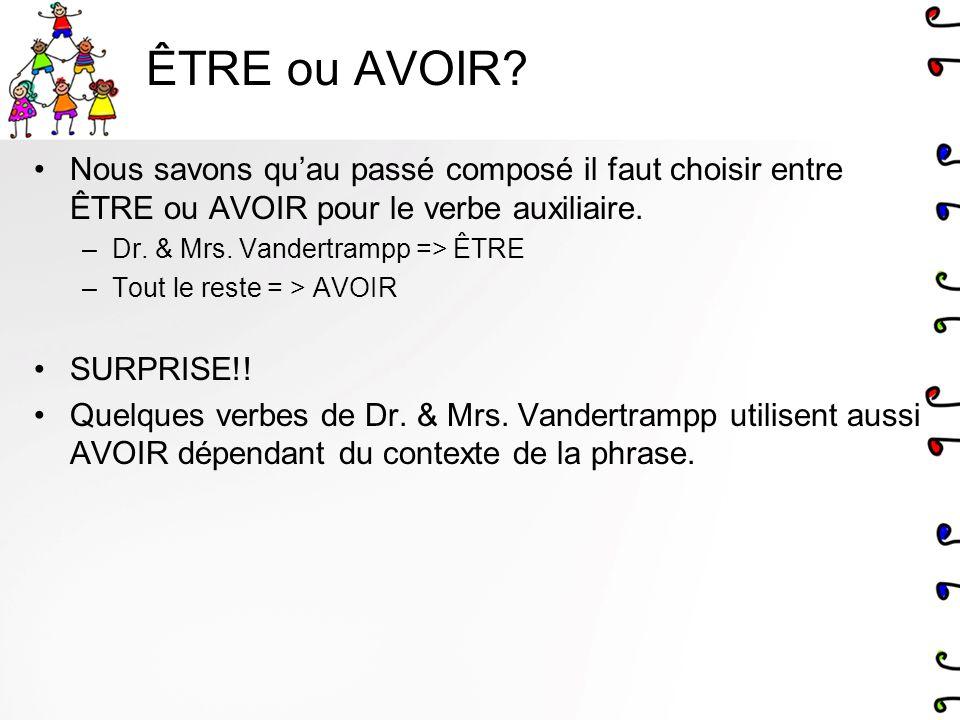 ÊTRE ou AVOIR? Nous savons quau passé composé il faut choisir entre ÊTRE ou AVOIR pour le verbe auxiliaire. –Dr. & Mrs. Vandertrampp => ÊTRE –Tout le