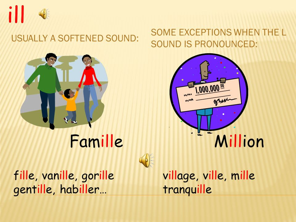 USUALLY A SOFTENED SOUND: SOME EXCEPTIONS WHEN THE L SOUND IS PRONOUNCED: ill Million village, ville, mille tranquille Famille fille, vanille, gorille gentille, habiller…