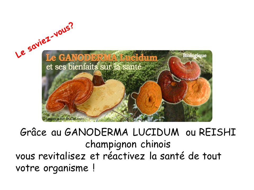 Le saviez-vous? Grâce au GANODERMA LUCIDUM ou REISHI champignon chinois vous revitalisez et réactivez la santé de tout votre organisme !