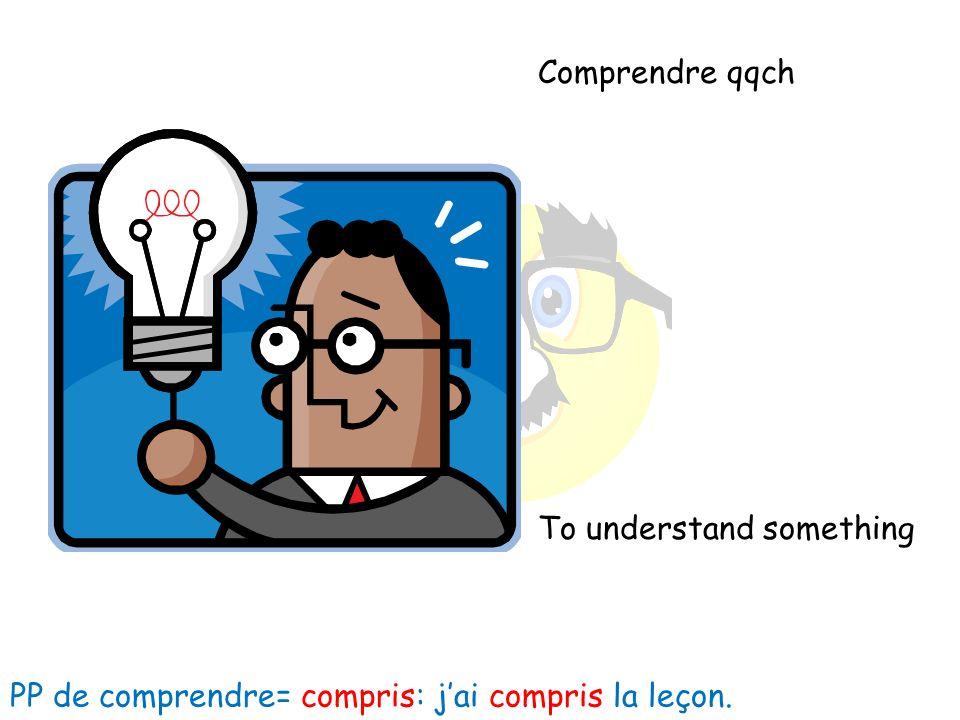 Comprendre qqch To understand something PP de comprendre= compris: jai compris la leçon.