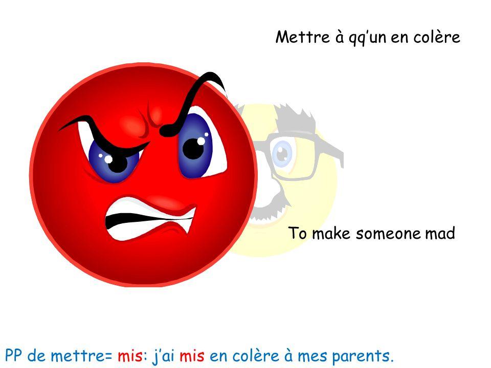 Mettre à qqun en colère To make someone mad PP de mettre= mis: jai mis en colère à mes parents.