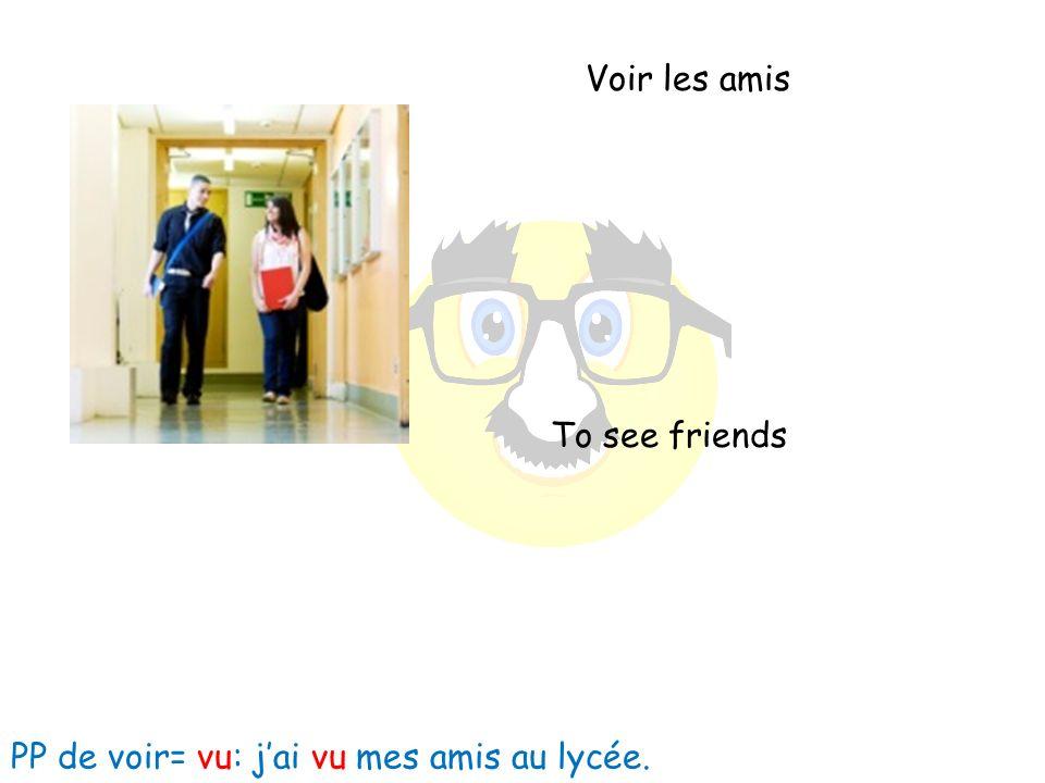 Voir les amis To see friends PP de voir= vu: jai vu mes amis au lycée.