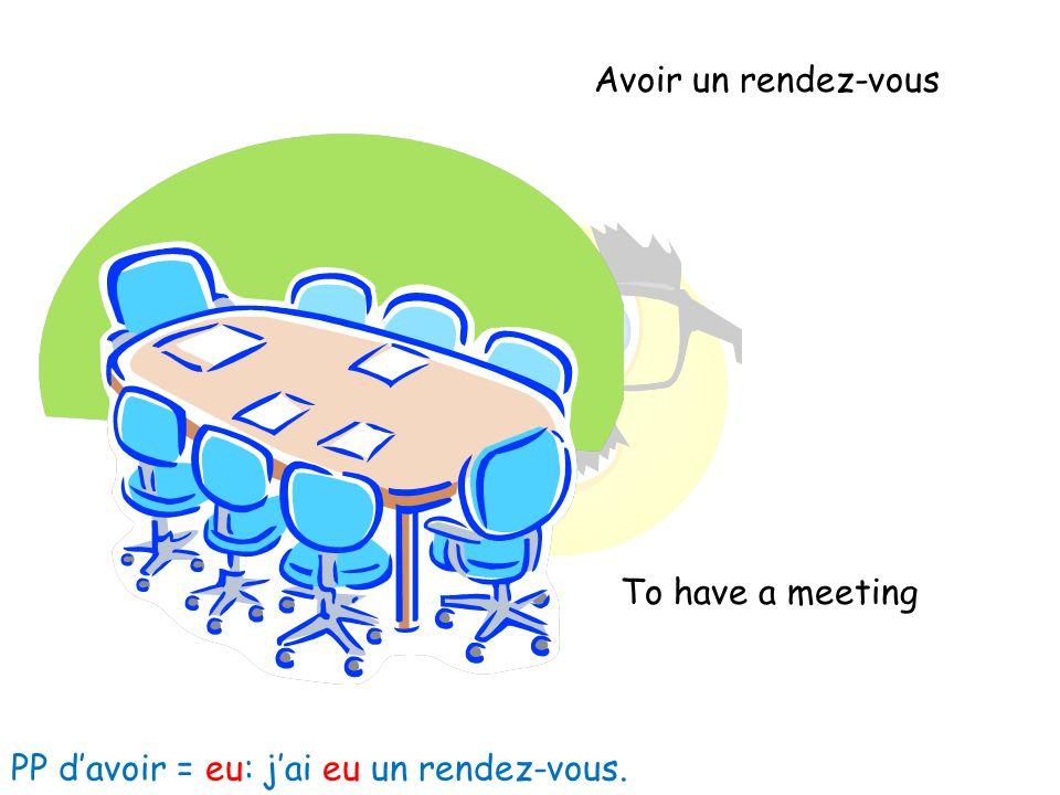 Avoir un rendez-vous To have a meeting PP davoir = eu: jai eu un rendez-vous.