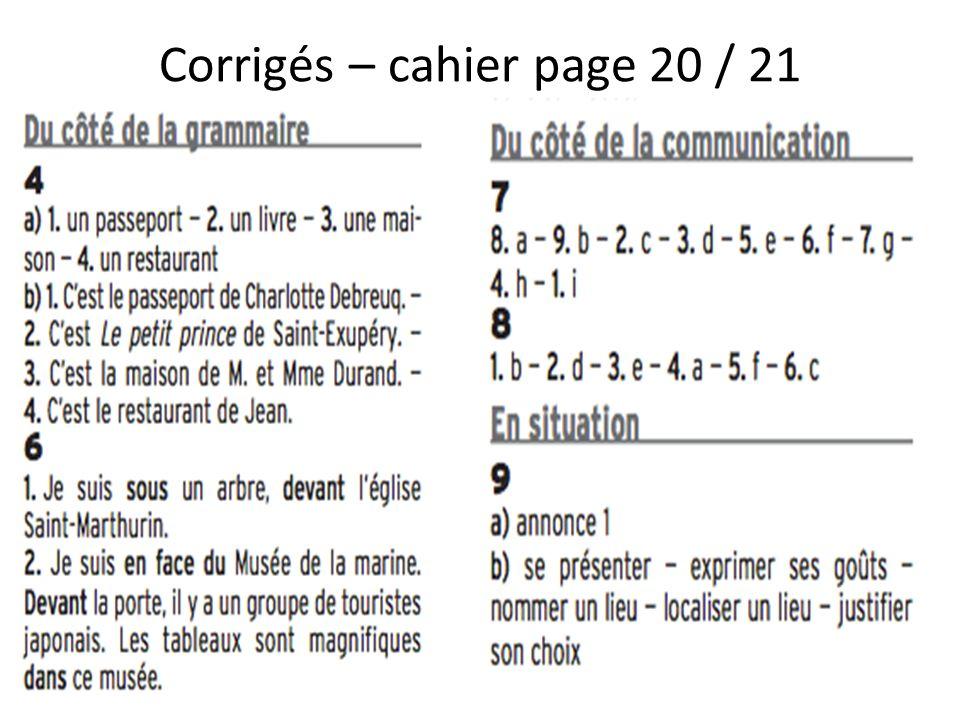 Corrigés – cahier page 20 / 21
