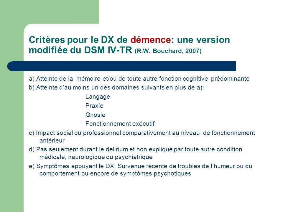 Critères pour le DX de démence: une version modifiée du DSM IV-TR (R.W.