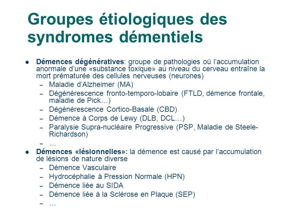 13 Groupes étiologiques des syndromes démentiels Démences dégénératives: groupe de pathologies où laccumulation anormale dune «substance toxique» au niveau du cerveau entraîne la mort prématurée des cellules nerveuses (neurones) – Maladie dAlzheimer (MA) – Dégénérescence fronto-temporo-lobaire (FTLD, démence frontale, maladie de Pick…) – Dégénérescence Cortico-Basale (CBD) – Démence à Corps de Lewy (DLB, DCL…) – Paralysie Supra-nucléaire Progressive (PSP, Maladie de Steele- Richardson) – … Démences «lésionnelles»: la démence est causé par laccumulation de lésions de nature diverse – Démence Vasculaire – Hydrocéphalie à Pression Normale (HPN) – Démence liée au SIDA – Démence liée à la Sclérose en Plaque (SEP) – …