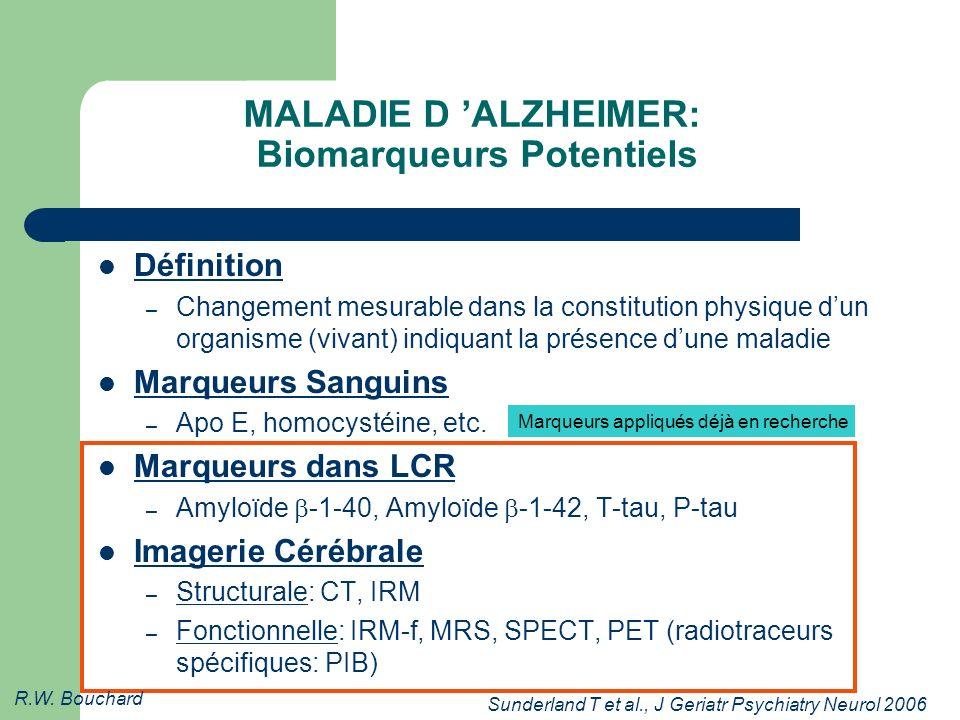 MALADIE D ALZHEIMER: Biomarqueurs Potentiels Définition – Changement mesurable dans la constitution physique dun organisme (vivant) indiquant la présence dune maladie Marqueurs Sanguins – Apo E, homocystéine, etc.