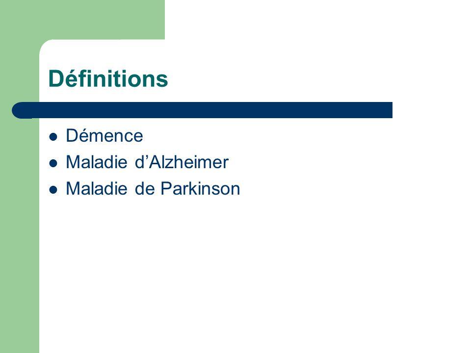 Définitions Démence: détérioration de plusieurs domaines cognitifs causant un impact sur le fonctionnement Maladie dAlzheimer Maladie de Parkinson