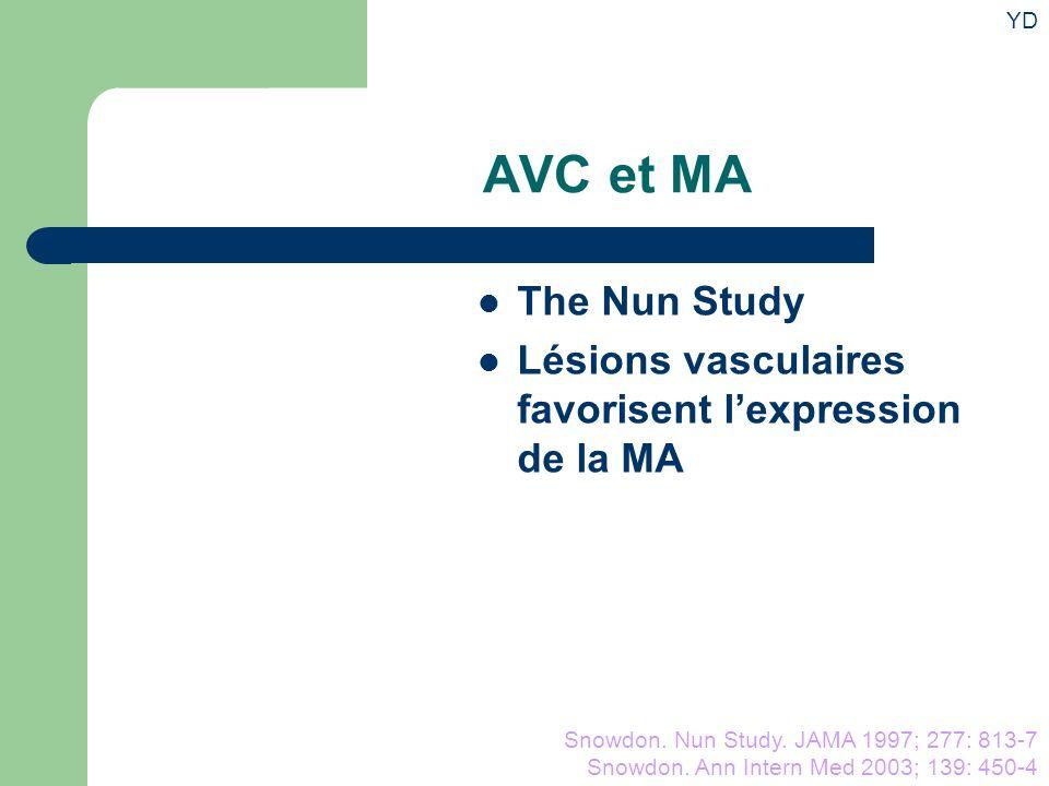AVC et MA The Nun Study Lésions vasculaires favorisent lexpression de la MA Snowdon.
