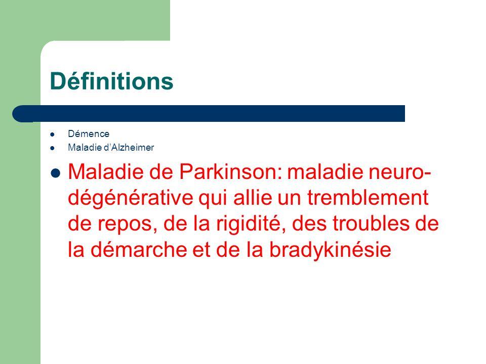 Définitions Démence Maladie dAlzheimer Maladie de Parkinson: maladie neuro- dégénérative qui allie un tremblement de repos, de la rigidité, des troubles de la démarche et de la bradykinésie