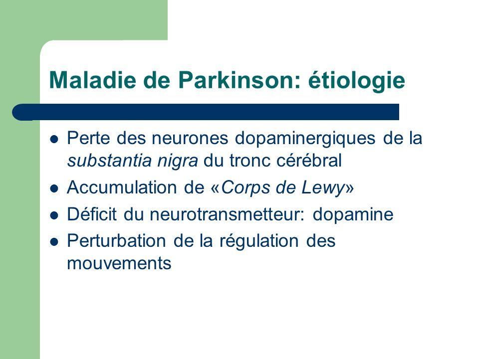 Maladie de Parkinson: étiologie Perte des neurones dopaminergiques de la substantia nigra du tronc cérébral Accumulation de «Corps de Lewy» Déficit du neurotransmetteur: dopamine Perturbation de la régulation des mouvements