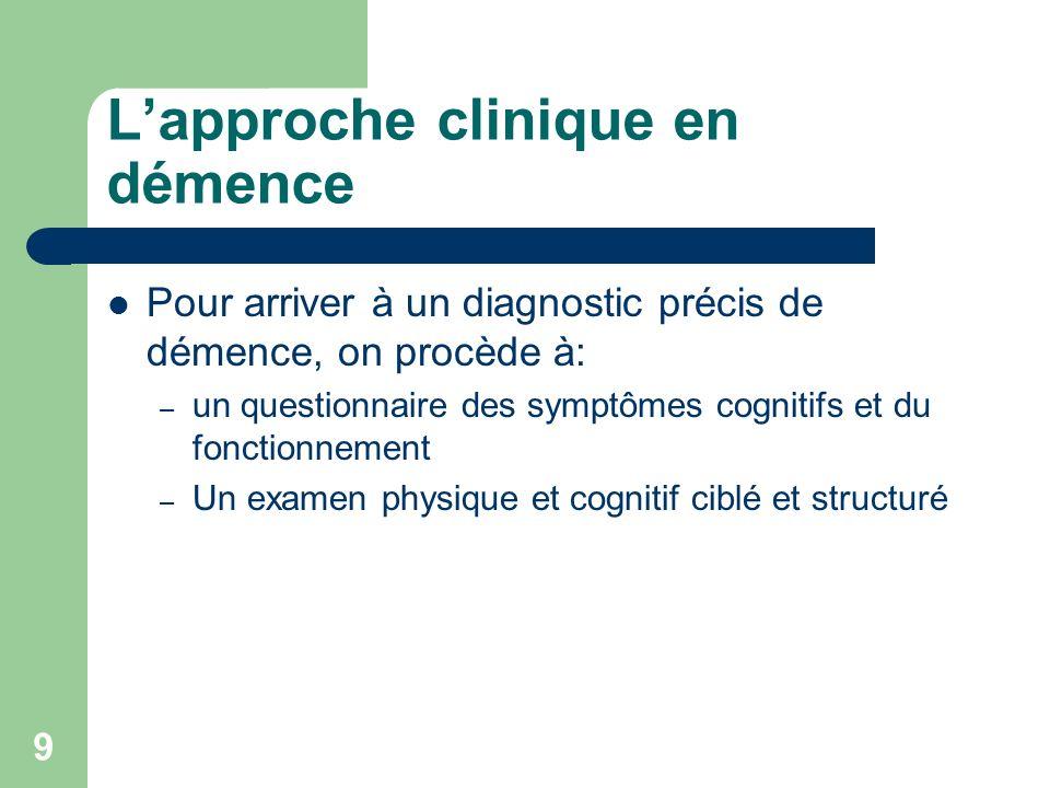 9 Lapproche clinique en démence Pour arriver à un diagnostic précis de démence, on procède à: – un questionnaire des symptômes cognitifs et du fonctionnement – Un examen physique et cognitif ciblé et structuré