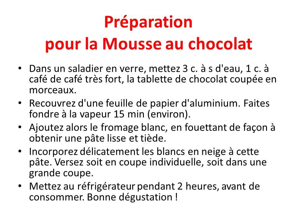 Préparation pour la Mousse au chocolat Dans un saladier en verre, mettez 3 c. à s d'eau, 1 c. à café de café très fort, la tablette de chocolat coupée