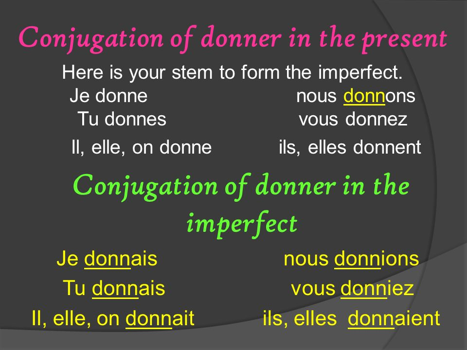 Conjugation of donner in the present Here is your stem to form the imperfect. Je donne nous donnons Tu donnes vous donnez Il, elle, on donne ils, elle