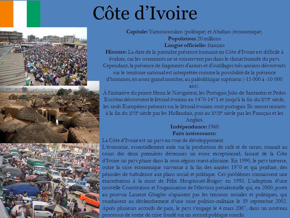Côte dIvoire Capitale: Yamoussoukro (politique) et Abidjan (économique) Population: 20 millions Langue officielle: français Histoire: La date de la pr