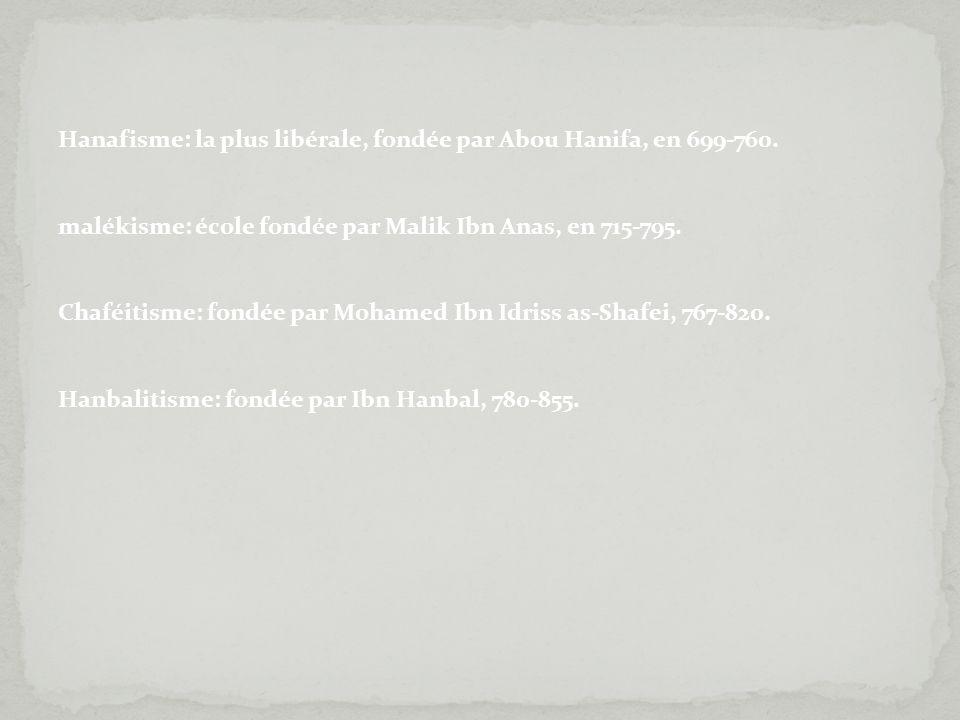 Hanafisme: la plus libérale, fondée par Abou Hanifa, en 699-760. malékisme: école fondée par Malik Ibn Anas, en 715-795. Chaféitisme: fondée par Moham