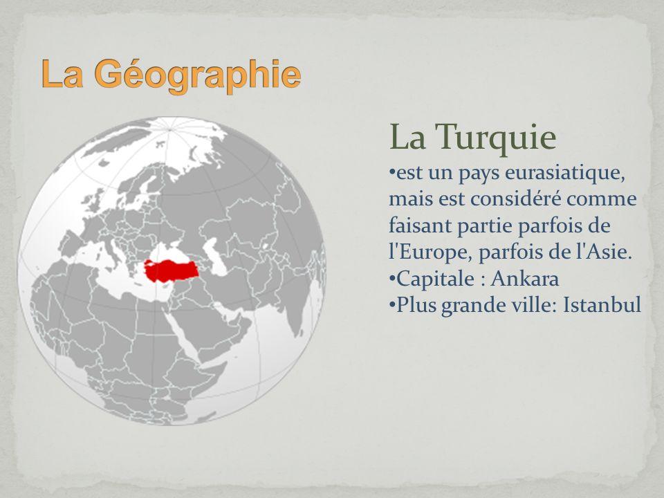 La Turquie est un pays eurasiatique, mais est considéré comme faisant partie parfois de l'Europe, parfois de l'Asie. Capitale : Ankara Plus grande vil