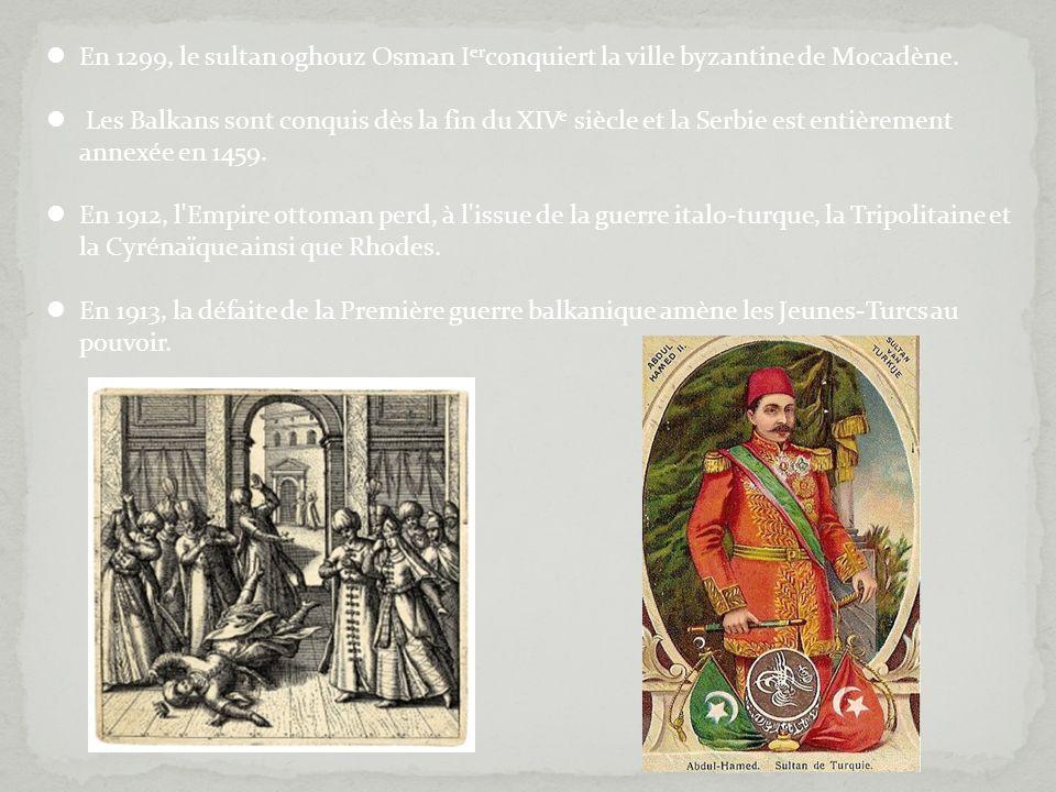 En 1299, le sultan oghouz Osman I er conquiert la ville byzantine de Mocadène. Les Balkans sont conquis dès la fin du XIV e siècle et la Serbie est en