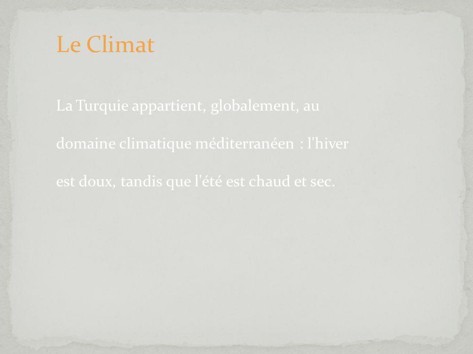 Le Climat La Turquie appartient, globalement, au domaine climatique méditerranéen : l'hiver est doux, tandis que l'été est chaud et sec.