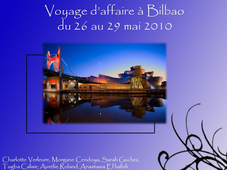 Mercredi 26 mai 09h00: Rendez-vous à laéroport international de Bilbao 11h05-13h10: Vol Bruxelles-Bilbao 14h30: Arrivée à lhôtel « Lopez de Haro » 15h45: Visite du musée des Beaux-arts 18h00-20h00: temps libre 20h30: repas au restaurant « Etxanobe »