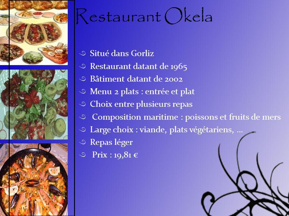 Restaurant Okela Situé dans Gorliz Restaurant datant de 1965 Bâtiment datant de 2002 Menu 2 plats : entrée et plat Choix entre plusieurs repas Composi