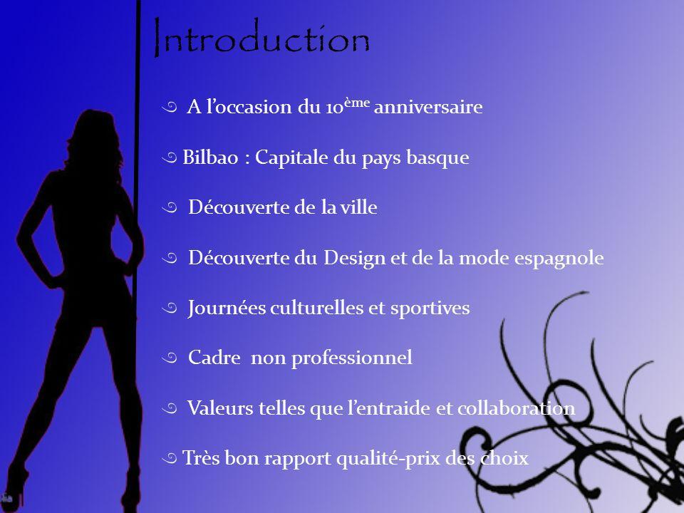 Introduction A loccasion du 10 ème anniversaire Bilbao : Capitale du pays basque Découverte de la ville Découverte du Design et de la mode espagnole J