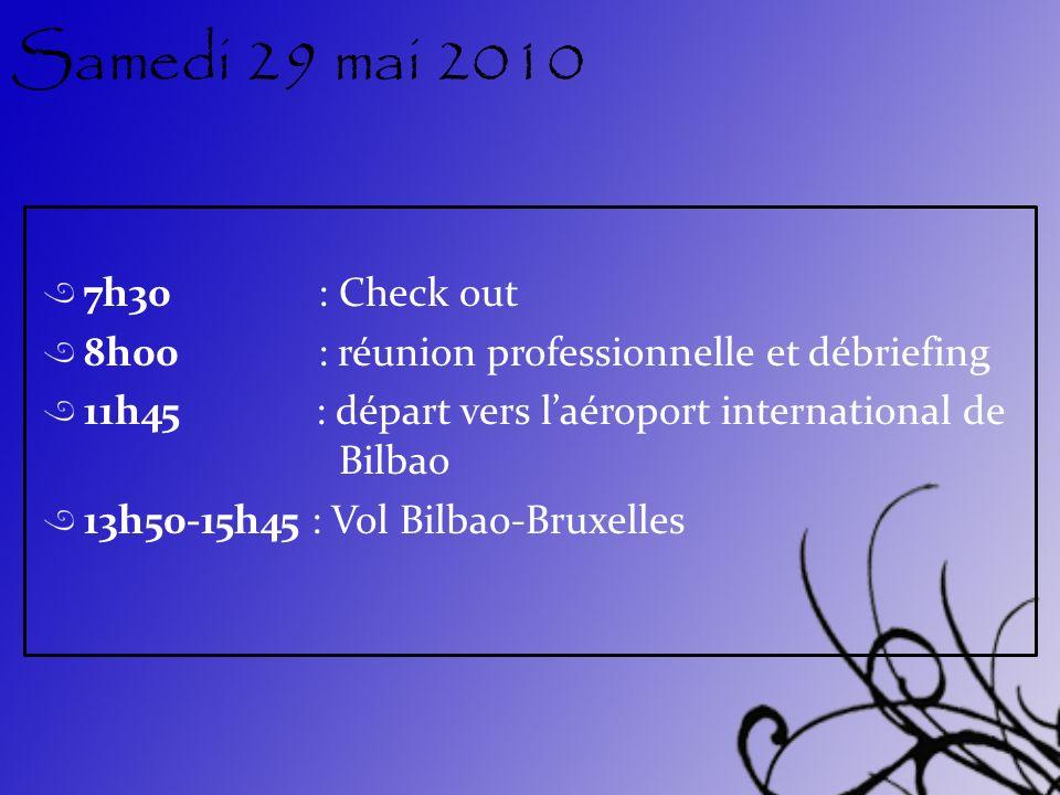 Samedi 29 mai 2010 7h30 : Check out 8h00 : réunion professionnelle et débriefing 11h45 : départ vers laéroport international de Bilbao 13h50-15h45 : V