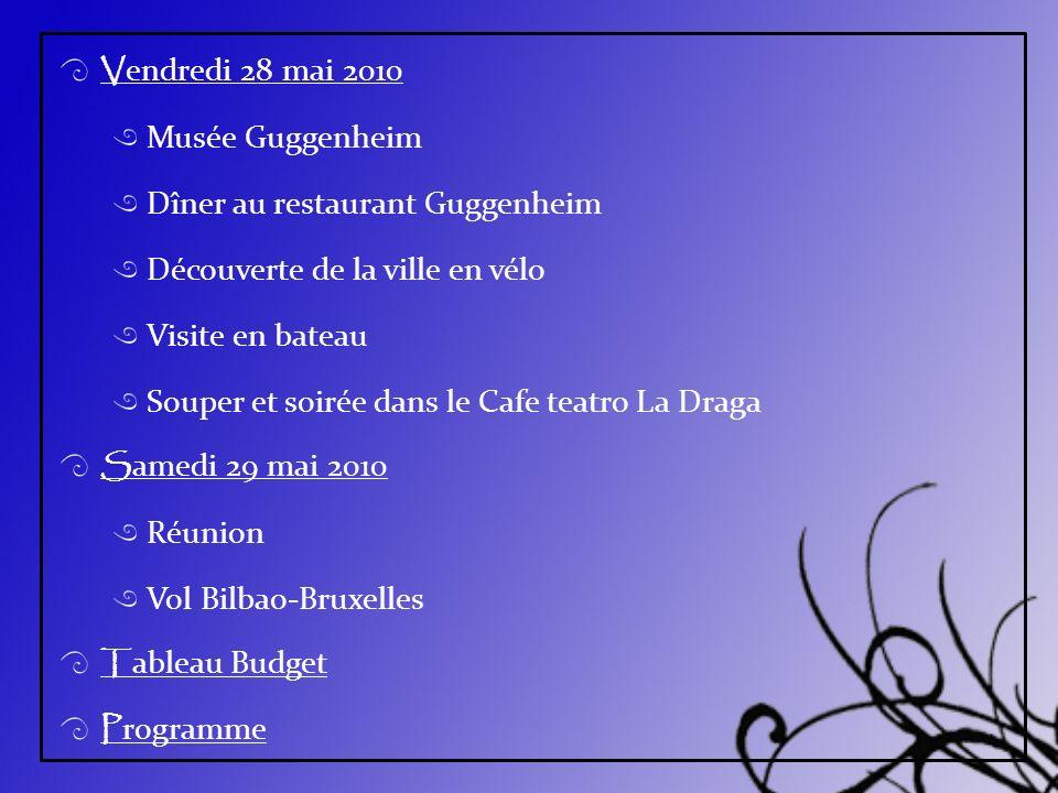 V endredi 28 mai 2010 Musée Guggenheim Dîner au restaurant Guggenheim Découverte de la ville en vélo Visite en bateau Souper et soirée dans le Cafe te