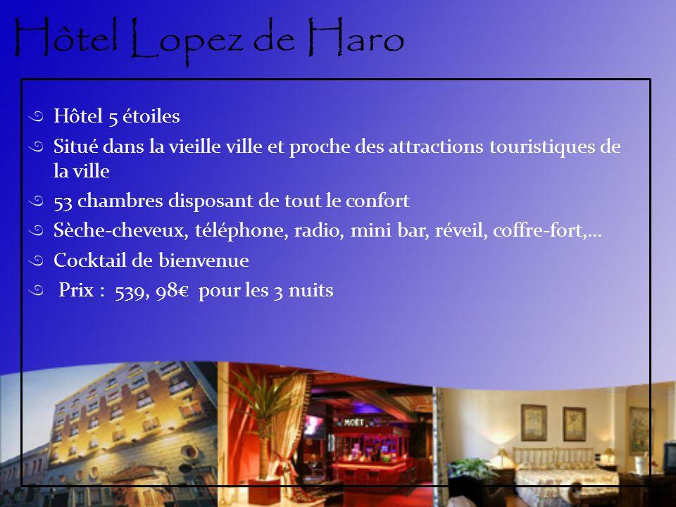 Hôtel Lopez de Haro Hôtel 5 étoiles Situé dans la vieille ville et proche des attractions touristiques de la ville 53 chambres disposant de tout le co