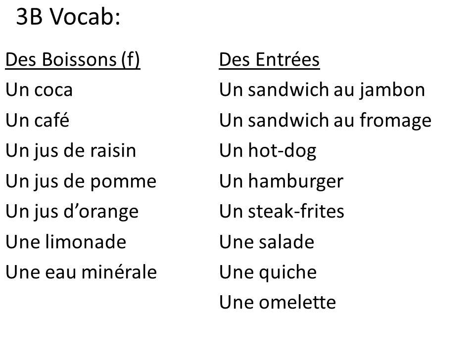 3B Vocab: Des Boissons (f)Des Entrées Un cocaUn sandwich au jambon Un caféUn sandwich au fromage Un jus de raisinUn hot-dog Un jus de pommeUn hamburger Un jus dorangeUn steak-frites Une limonadeUne salade Une eau minérale Une quiche Une omelette
