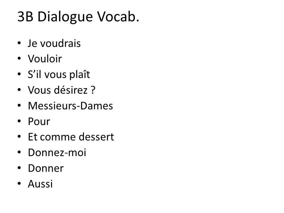 3B Dialogue Vocab. Je voudrais Vouloir Sil vous plaît Vous désirez .