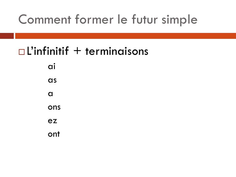Comment former le futur simple Linfinitif + terminaisons ai as a ons ez ont