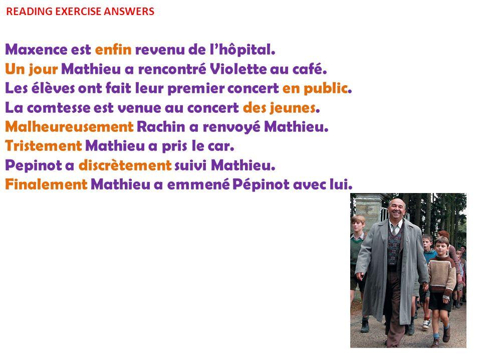Maxence est enfin revenu de lhôpital.Un jour Mathieu a rencontré Violette au café.