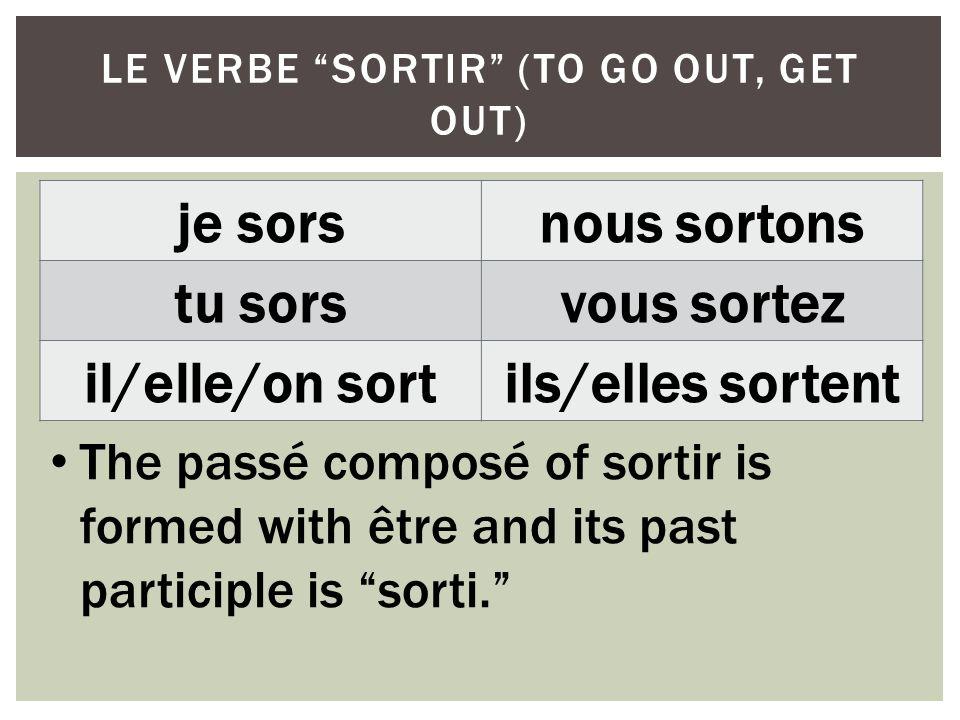 LE VERBE SORTIR (TO GO OUT, GET OUT) je sorsnous sortons tu sorsvous sortez il/elle/on sortils/elles sortent The passé composé of sortir is formed wit