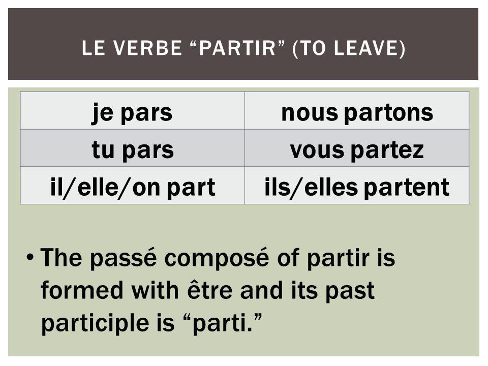 je parsnous partons tu parsvous partez il/elle/on partils/elles partent LE VERBE PARTIR (TO LEAVE) The passé composé of partir is formed with être and