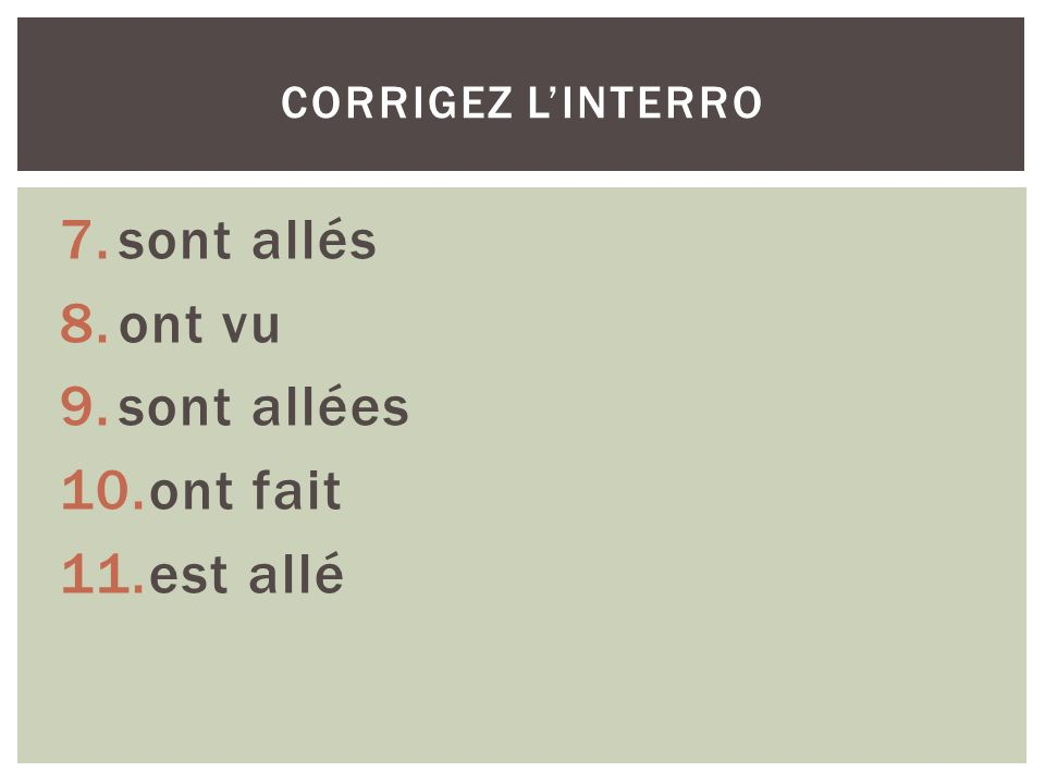 Note the forms of the passé composé in the following sentences: 1.Olivier est allé au cinéma.