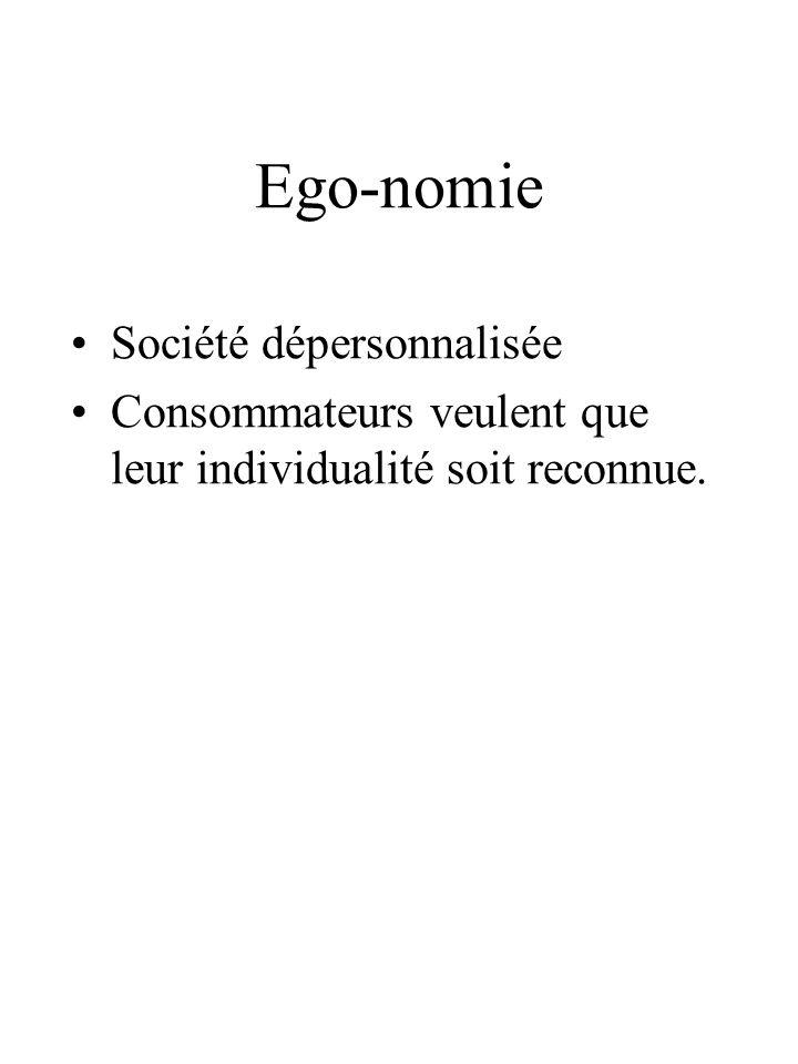 Ego-nomie Société dépersonnalisée Consommateurs veulent que leur individualité soit reconnue.