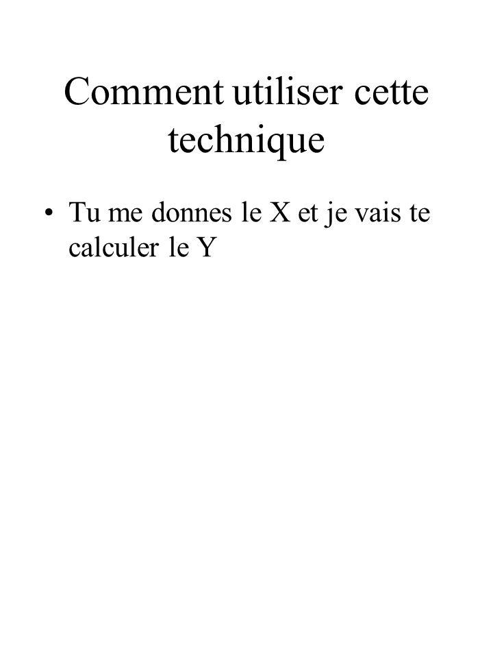 Comment utiliser cette technique Tu me donnes le X et je vais te calculer le Y