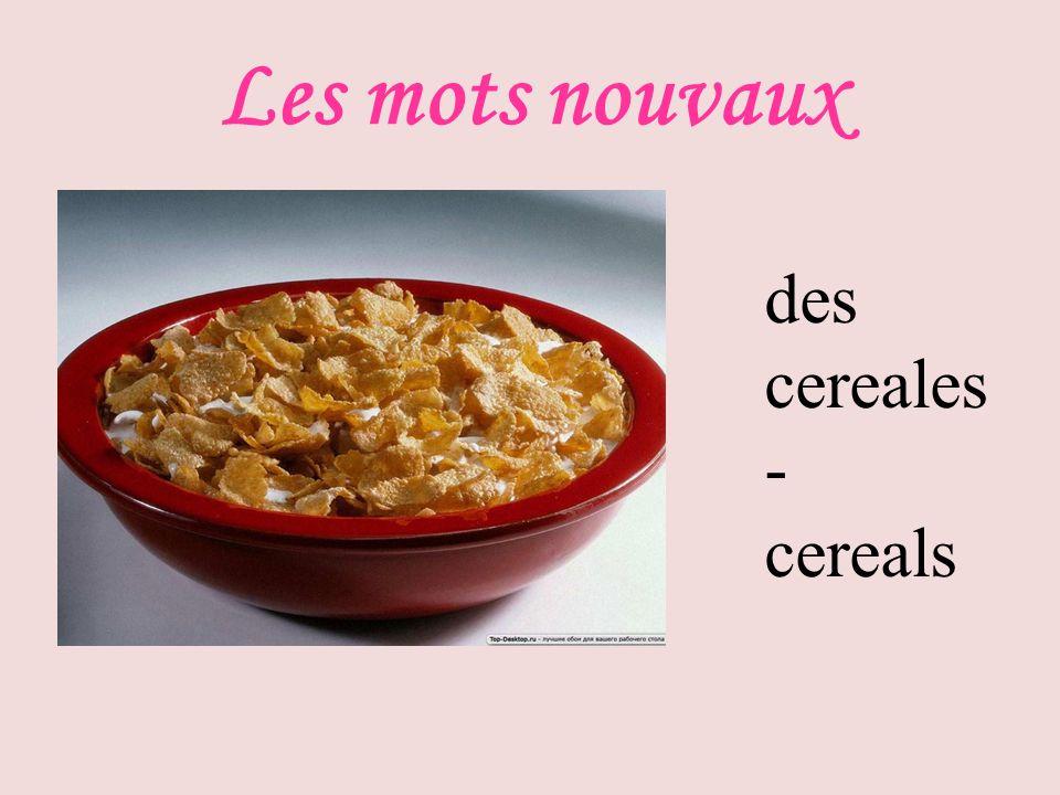 Les mots nouvaux des cereales - cereals