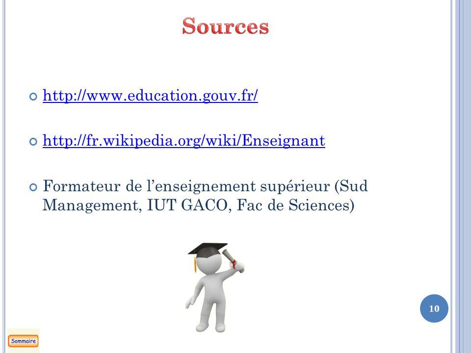 http://www.education.gouv.fr/ http://fr.wikipedia.org/wiki/Enseignant Formateur de lenseignement supérieur (Sud Management, IUT GACO, Fac de Sciences) 10