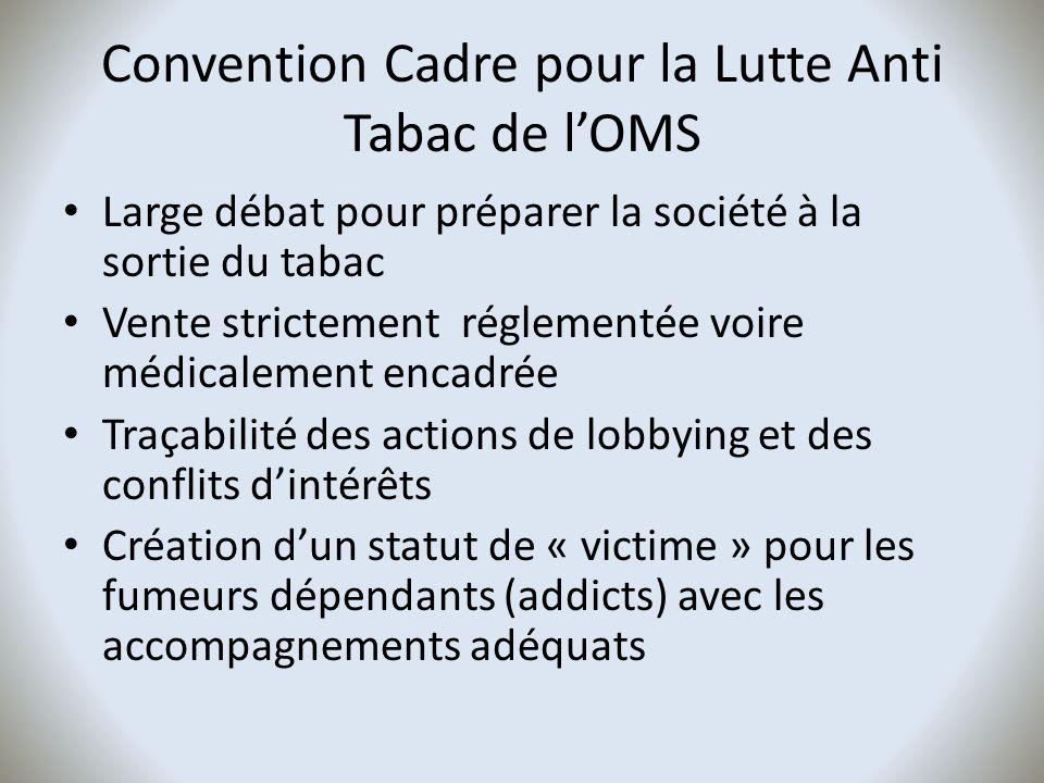 Convention Cadre pour la Lutte Anti Tabac de lOMS Large débat pour préparer la société à la sortie du tabac Vente strictement réglementée voire médica