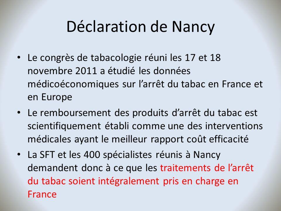 Déclaration de Nancy Le congrès de tabacologie réuni les 17 et 18 novembre 2011 a étudié les données médicoéconomiques sur larrêt du tabac en France e