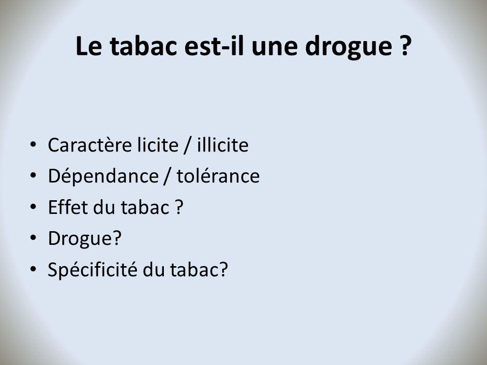 Le tabac est-il une drogue ? Caractère licite / illicite Dépendance / tolérance Effet du tabac ? Drogue? Spécificité du tabac?