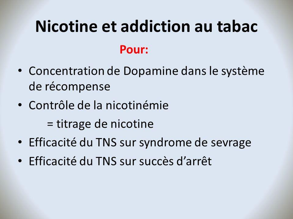 Nicotine et addiction au tabac Concentration de Dopamine dans le système de récompense Contrôle de la nicotinémie = titrage de nicotine Efficacité du